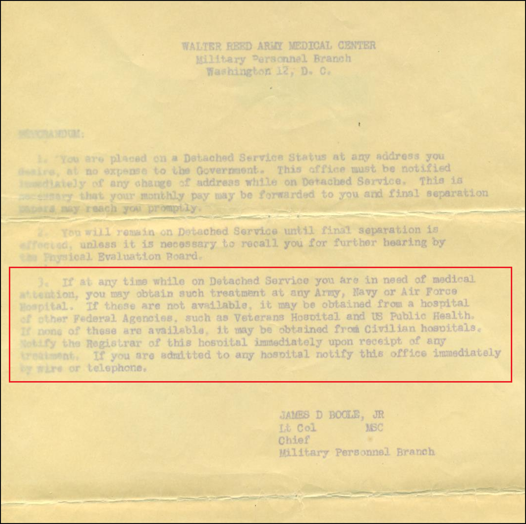 Walter Reed Letter