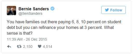 Bernie Sanders Student Loan Tweet